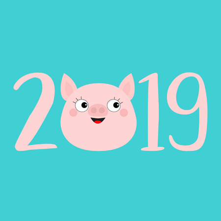 2019 pink text. Cute pig face head. Pink piggy piglet. Happy New Year Chinise symbol. Cartoon funny kawaii smiling baby character. Flat design. Blue background. Isolated. Vector illustration