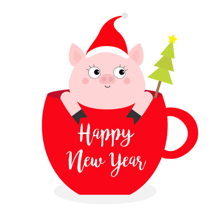 Happy New Year 2019. Pig sitting in red coffee cup teacup. Fir tree. Santa hat. Face and hands. Cute cartoon character. Hello winter. Merry Christmas. White background. Flat design. Vector