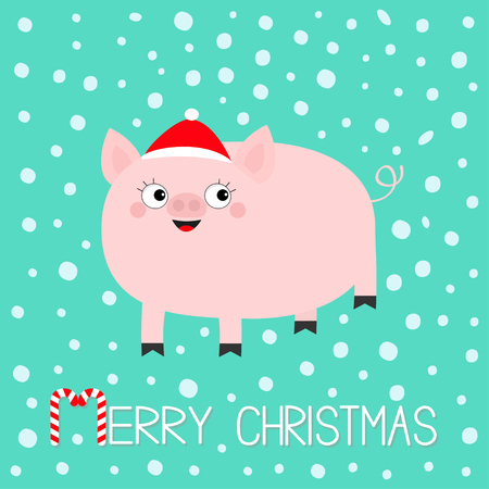 Pig piglet. Hog swine sow animal. Cute cartoon funny baby character. Merry Christmas. Santa hat. Chinise symbol of 2019 new year. Zodiac sign. Flat design. White background. Snow flake. Vector