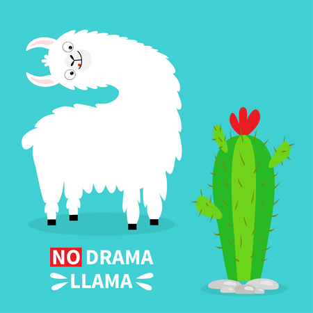 Llama alpaca turning head face, tongue. No drama. Cute cartoon funny kawaii character. Cactus. Childish baby collection. T-shirt, greeting card poster template print Flat design Blue background Vector Çizim