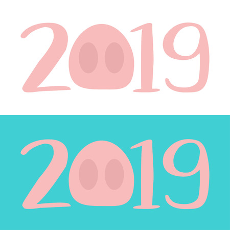 2019 pink text. Cute baby pig. Piggy piglet nose. Happy New Year Chinise symbol. Cartoon funny kawaii smiling character. Flat design. Blue and white background. Isolated. Vector illustration Illustration