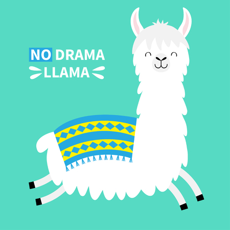 Llama alpaca running jumping. No drama. Cute cartoon funny kawaii smiling character. Childish baby collection. T-shirt, greeting card, poster template print. Flat design. Green background. Vector