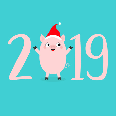 Happy New Year 2019 pink text. Cute baby pig in santa hat. Piggy piglet. Chinise symbol. Cartoon funny kawaii smiling character. Flat design. Blue background. Isolated. Vector illustration Illustration