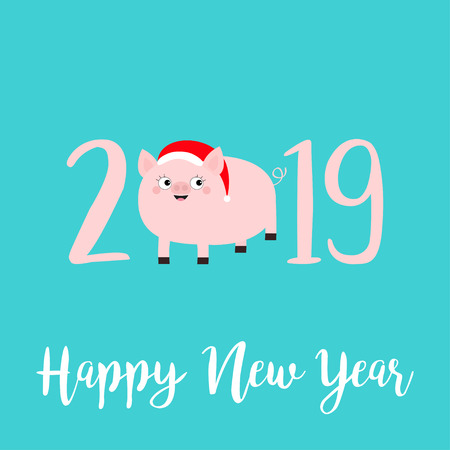 Happy New Year 2019 pink text. Cute fat pig in santa hat. Piggy piglet. Chinise symbol. Cartoon funny kawaii smiling baby character. Flat design. Blue background. Isolated. Vector illustration