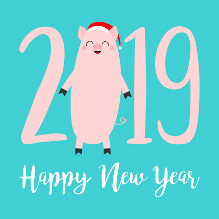 Happy New Year 2019 pink text. Cute fat pig. Santa hat. Piggy piglet. Chinise symbol. Cartoon funny kawaii smiling baby character. Flat design. Isolated. Blue background. Vector illustration