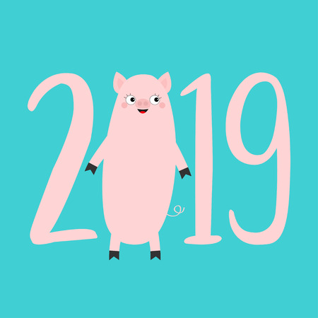 2019 pink text. Cute pig. Piggy piglet. Happy New Year Chinise symbol. Cartoon funny kawaii smiling baby character. Flat design. White background. Isolated. Vector illustration