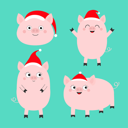 Pig piglet set. Santa hat. Cute cartoon funny baby character. Hog swine sow animal. Chinise symbol of 2019 new year. Zodiac sign. Flat design. Green background. Isolated. Vector illustration Illustration