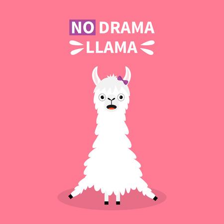 Do drama Llama alpaca sitting. Cute cartoon funny kawaii smiling character. Childish baby collection. Fluffy fur. T-shirt, greeting card, poster template print. Flat design. Pink background. Vector