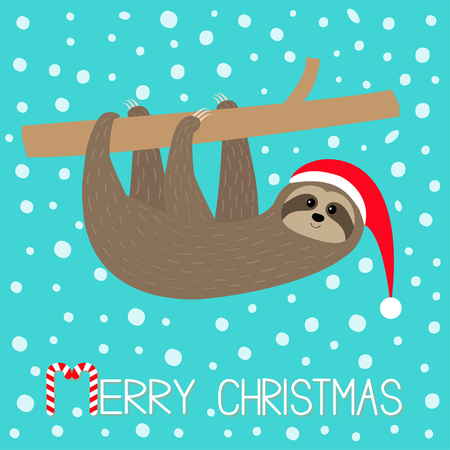 Merry Christmas. Sloth sitting hanging on branch. Santa hat. Face and hands. Cute cartoon character. Hello winter. Snowflake. Baby animal. Snow falling. Slow down Blue background Flat design Vector