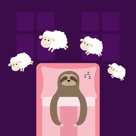 Cute sloth sleeping sign zzz. Jumping sheeps. Cant sleep going to bed concept. Counting sheep. Hands on blanket pillow. Animal set. Baby collection. Two windows. Flat design. Violet background. Vector