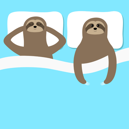 Sloth family love couple sleeping. Slow down. Cant sleep going to bed concept. Blanket pillow. Cute cartoon funny kawaii lazy character. Baby collection. Flat design. Blue background. Vector
