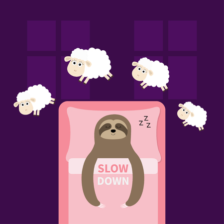 Cute sloth sleeping sign zzz. Jumping sheeps. Cant sleep going to bed concept. Counting sheep. Slow down. Hands on blanket pillow. Baby collection. Two windows. Flat design. Violet background. Vector