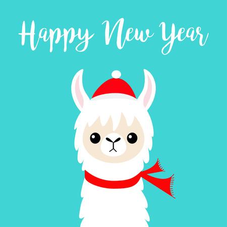 Happy New Year. Llama alpaca baby face. Santa Claus red hat, scarf. Cute cartoon funny kawaii character. Merry Christmas. Greeting card print. Flat design. Blue background. Vector illustration