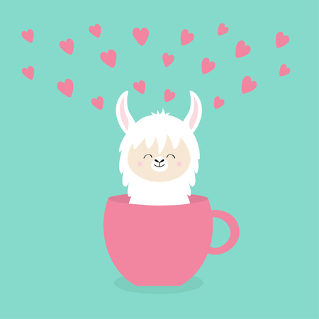 Alpaca llama sitting in coffee cup teacup. Pink hearts. Happy Valentines Day. Funny face . Cute cartoon character. Blue background. Love card. Flat design. Vector Ilustração