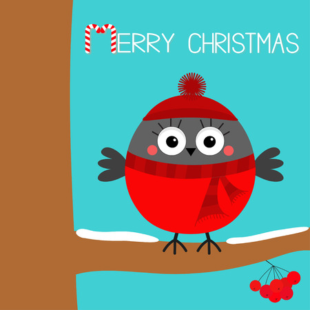 Merry Christmas. Bullfinch winter bird on rowan rowanberry sorb berry tree snow branch. Red hat, scarf. Candy cane. Cute cartoon baby character. Happy New Year. Flat design. Blue background. Vector Ilustração