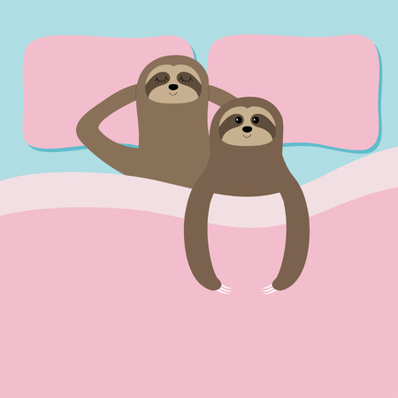 Sloth family love couple sleeping. Cant sleep going to bed concept. Blanket pillow. Slow down. Cute cartoon funny kawaii lazy character. Baby collection. Flat design. Blue pink background. Vector