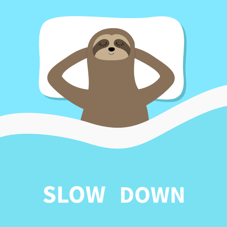 Sloth sleeping. Slow down. Cant sleep going to bed concept. Blanket pillow. Cute cartoon funny kawaii lazy character. Baby collection. Flat design. Blue background. Vector illustration 向量圖像