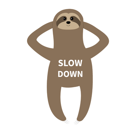 Sloth laying on the floor. Slow down. Cute cartoon funny kawaii lazy character. Wild jungle animal collection. Baby education. Isolated. White background. Flat design Vector illustration Vettoriali