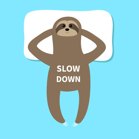 Sloth sleeping on pillow. Cant sleep going to bed concept. Slow down. Cute cartoon funny kawaii lazy character. Baby collection. Flat design. Blue background. Vector illustration