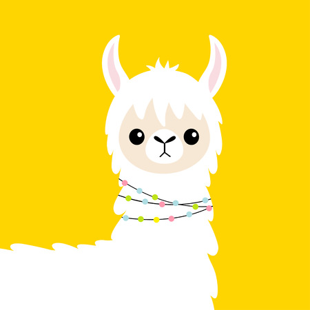 Llama alpaca head baby face. Cute cartoon funny kawaii smiling character. Childish collection. Fluffy hair fur. T-shirt, greeting card, poster template print. Flat design. Yellow background. Vector