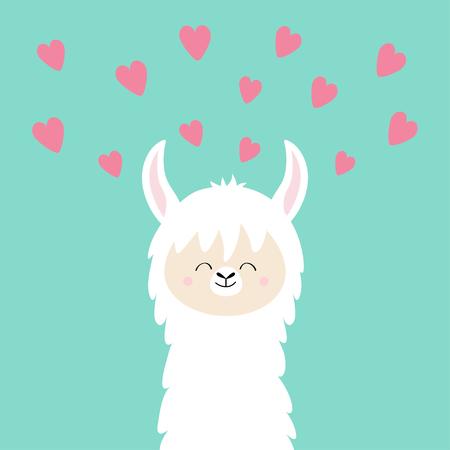 Alpaca llama face neck. Pink hearts. Happy Valentines Day. Cute cartoon funny smiling character. Blue background. Love card. Flat design. Vector illustration Ilustração