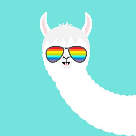 Alpaca llama face in rainbow glassess. Cute cartoon funny kawaii character. Fluffy hair fur. T-shirt, greeting card, poster print. Childish baby collection. Flat design. Blue background. Vector