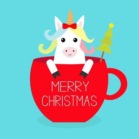 Merry Christmas. Unicorn horse sitting in red coffee cup teacup. Fir tree. Red bow. Happy New Year. Face and hands. Cute cartoon character. Hello winter Blue background Flat design Vector illustration