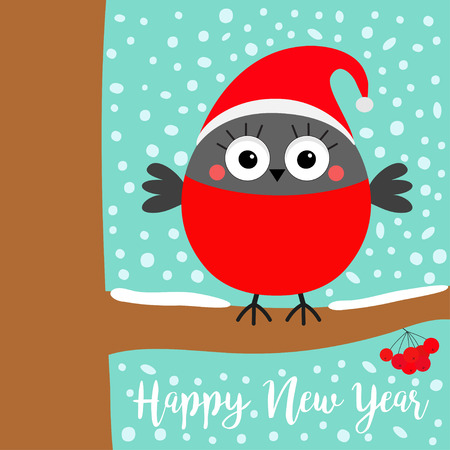 Happy New Year. Bullfinch winter bird on rowan rowanberry sorb berry tree branch. Red Santa hat. Merry Christmas. Candy cane. Cute cartoon baby character. Flat design Blue snow flake background Vector