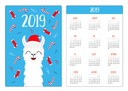 Llama alpaca in Santa red hat. Candy cane, socks. Simple pocket calendar layout 2019 new year. Week starts Sunday. Cute cartoon character. Vertical orientation. Flat design. Blue background. Vector Illustration
