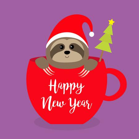 Feliz Año Nuevo. Pereza sentada en la taza de té roja de la taza de café. Sombrero de Santa. Abeto. Rostro y manos. Personaje de dibujos animados lindo bebé. Feliz Navidad. Hola invierno. Tranquiliza a Violet. vector de diseño plano de fondo