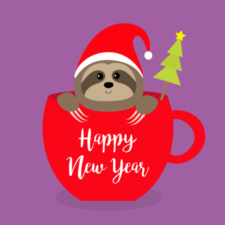 Happy New Year. Sloth sitting in red coffee cup teacup. Santa hat. Fir tree. Face and hands. Cute cartoon baby character. Merry Christmas. Hello winter. Slow down Violet. background Flat design Vector Stock Illustratie