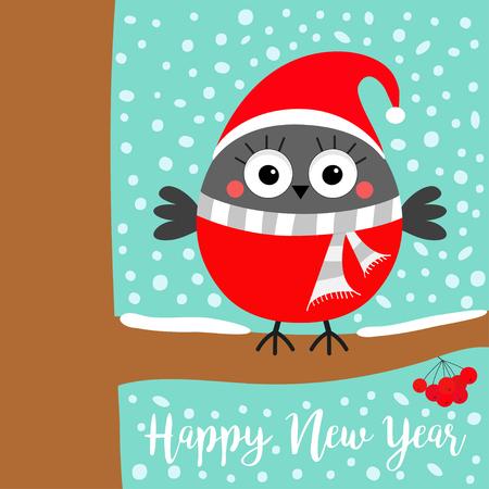 Happy New Year. Bullfinch winter bird on rowan rowanberry sorb berry tree branch. Red Santa hat, scarf. Merry Christmas. Cute cartoon baby character. Candy cane Flat design Blue snow background Vector