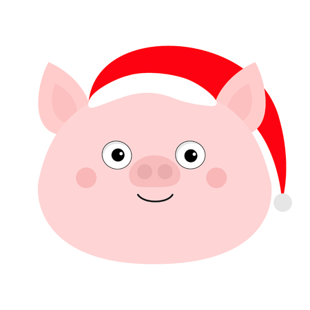 Pig piglet face in Santa red hat. Cute cartoon funny baby character. Hog swine sow animal. Chinise symbol of 2019 new year. Zodiac sign. Flat design. White background. Isolated. Vector illustration