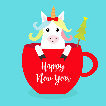 Happy New Year. Unicorn horse sitting in red coffee cup teacup. Fir tree. Red bow. Merry Christmas. Face and hands. Cute cartoon character. Hello winter Blue background Flat design Vector illustration