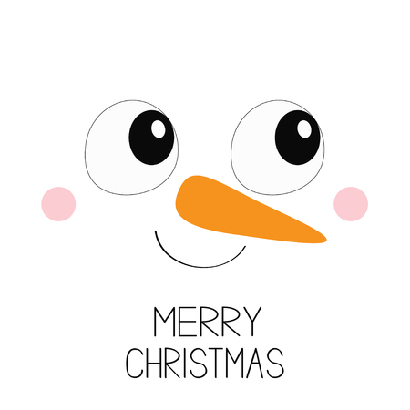 Merry Christmas. Snowman square face icon. Big eyes, carrot nose. Happy New Year. Cute cartoon funny kawaii character. White head winter background. Greeting card. Flat design. Vector illustration