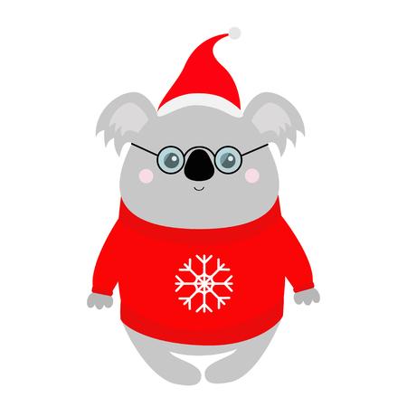 Koala con gorro de Papá Noel rojo, suéter feo, gafas. Feliz Navidad. Animal kawaii. Personaje de dibujos animados lindo oso bebé. Cara graciosa. Año nuevo. Tarjeta de felicitación. Diseño plano. Fondo blanco. Aislado. Vector Ilustración de vector