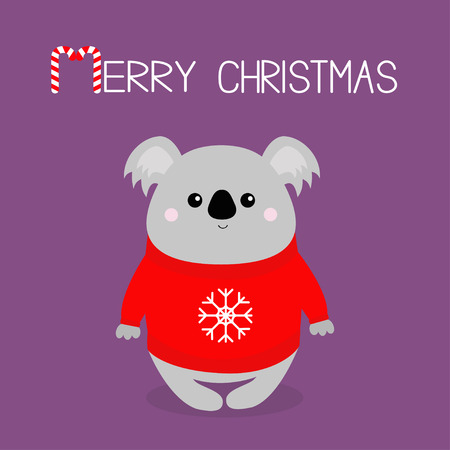 Merry Christmas. Candy cane. Koala in red ugly sweater with snowflake. Happy New Year. Kawaii animal. Cute cartoon bear baby character. Funny face. Greeting card. Flat design. Violet background Vector