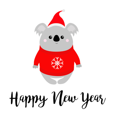 Happy New Year. Koala in red Santa hat, ugly sweater. Merry christmas. Kawaii animal. Cute cartoon bear baby character. Funny face. Greeting card. Flat design. White background. Isolated. Vector Ilustração