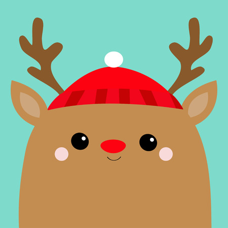 Raindeer deer head face. Red hat, nose, horns. Merry Christmas. Happy New Year. Cute cartoon kawaii baby character. Funny animal. Flat design. Hello winter. Blue background. Vector illustration
