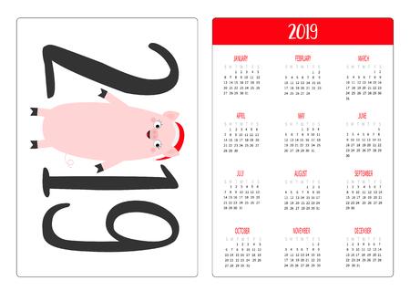 Simple pocket calendar layout 2019 new year. Week starts Sunday. Cute pig piggy. Santa red hat. Cartoon smiling character. Vertical orientation. Flat design. White background. Vector illustration Illustration