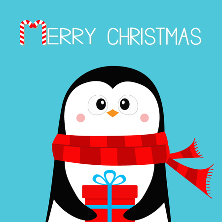 Merry Christmas. Penguin holding gift box present. Red scarf. Happy New Year. Cute cartoon kawaii baby character. Arctic animal. Flat design. Hello winter. Blue background. Vector illustration