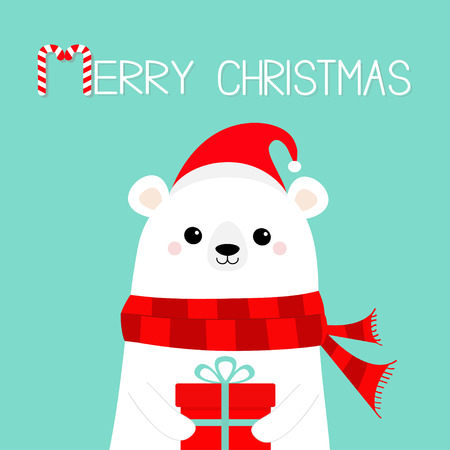 Merry Christmas. Polar white bear cub face holding gift box present. Red Santa hat, scarf. Cute cartoon baby character. Happy New Year. Arctic animal. Flat design Hello winter. Blue background. Vector Illustration