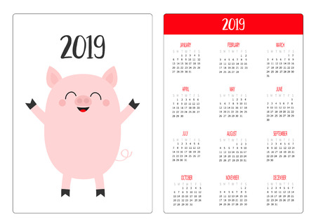 Cute pig piggy. Pocket calendar layout 2019 new year. Week starts Sunday. Cartoon character. Vertical orientation. Flat design. White background. Isolated. Vector illustration Illustration