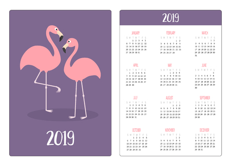 Flamingo bird love. Simple pocket calendar layout 2019 new year. Week starts Sunday. Vertical orientation. Cartoon kawaii funny baby character. Flat design. Violet background. Vector illustration