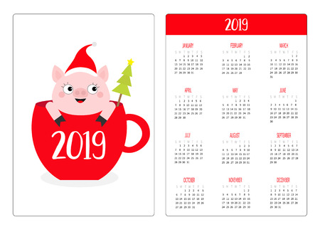 Pig piggy in red coffee tea cup. Santa hat, snow. Simple pocket calendar layout 2019 new year. Week starts Sunday. Cute cartoon character. Vertical orientation. Flat design. White background. Vector