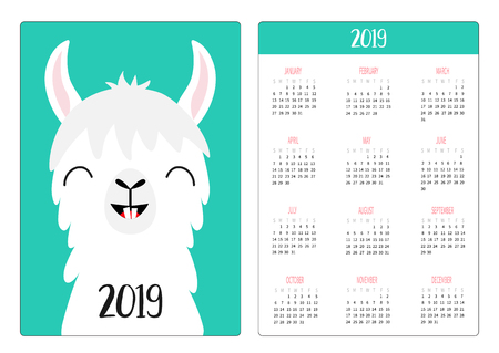 Alpaca llama. Smile with tooth. Simple pocket calendar layout 2019 new year. Week starts Sunday. Vertical orientation. Cute cartoon kawaii funny baby character. Flat design. Green background. Vector  イラスト・ベクター素材