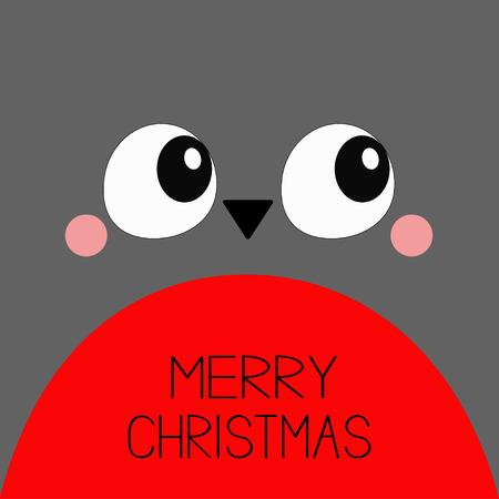 Merry Christmas. Bullfinch red bird square head face icon. Big eyes, beak. Happy New Year. Cute cartoon funny kawaii character. Winter background. Greeting card. Flat design. Vector illustration Ilustração