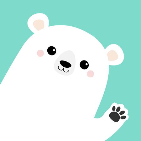 Big white polar bear waving hand paw print. Cute cartoon funny kawaii baby character. Merry Christmas Greeting Card. Flat design. Blue background. Greeting card. Vector illustration