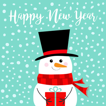 Happy New Year. Snowman holding gift box present. Carrot nose, black hat, red scarf. Merry Christmas. Cute cartoon funny kawaii character. Blue snow winter background. Flat design. Vector illustration