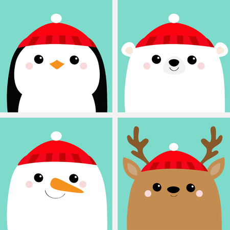 White polar bear Snowman Raindeer Deer Penguin bird face head icon set. Merry Christmas. New Year. Cute cartoon funny kawaii baby character. Greeting card. Flat design Blue background. Vector